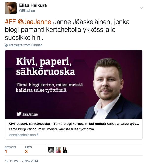 Janne Jääskeläinen - Kivi paperi sähköruoska - blogi